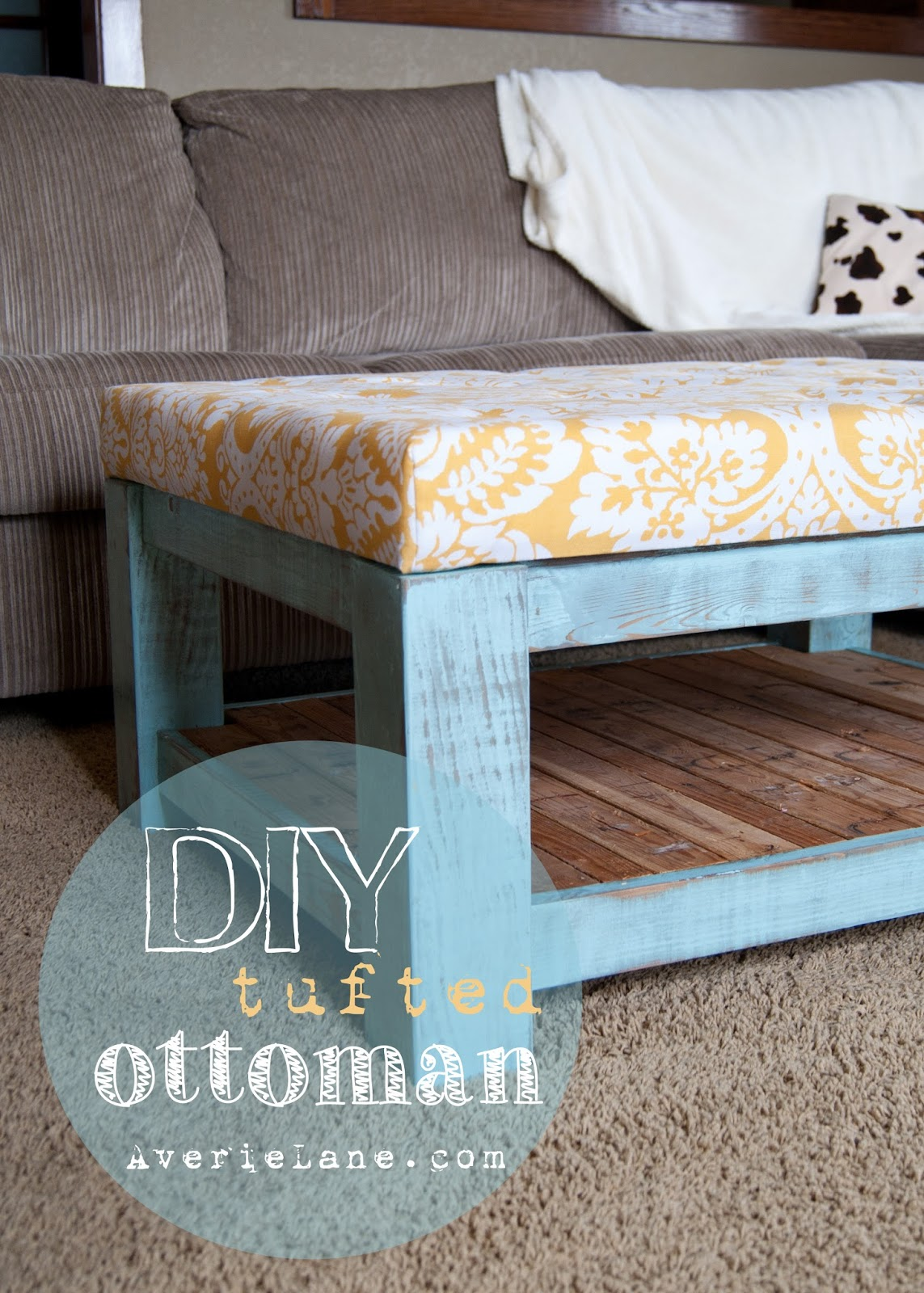 Ottoman with blue frame, reclaimed wood and tufted cushion
