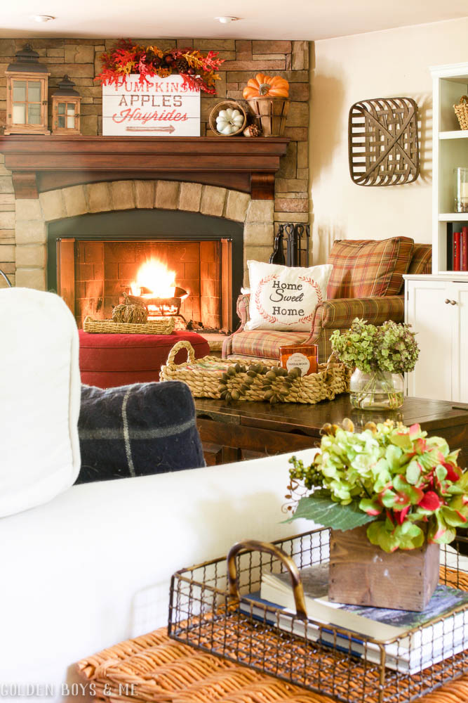 Fall mantel decor idea with stone fireplace